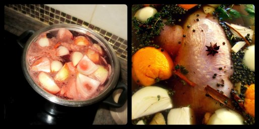 The gammon simmering in apple and cranberry juice and the turkey in brine... it's a beautiful thing.